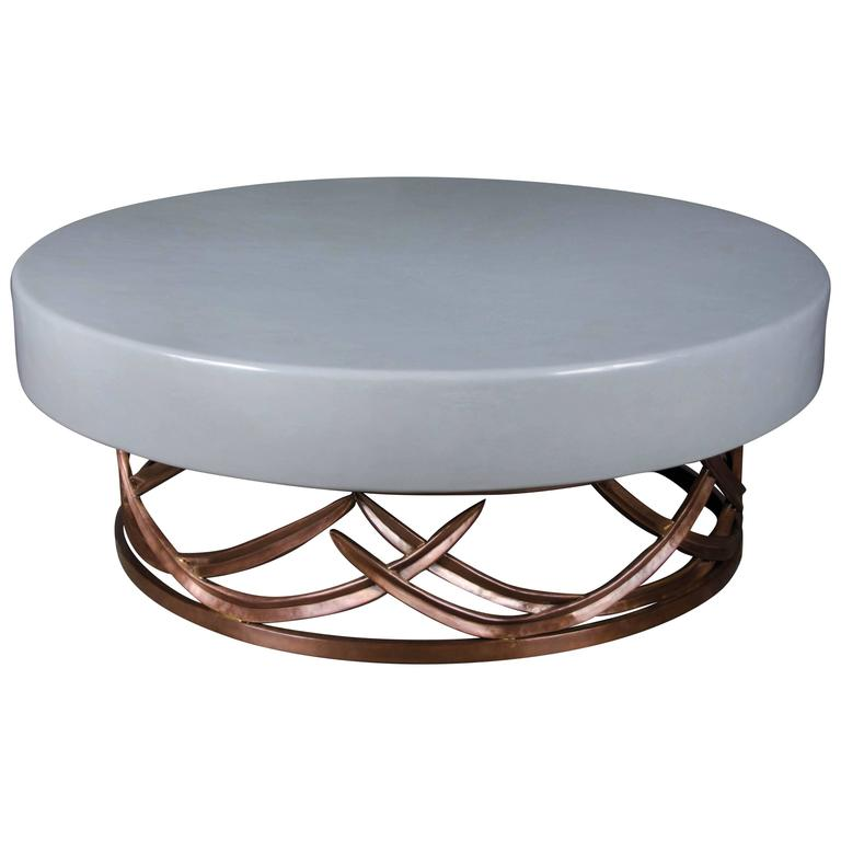 Grass Design Coffee Table With Grey Lacquer Top By Robert Kuo, One Of A Kind