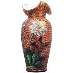 English Victorian Art Glass Vase with Enameled Flowers by Stevens & Williams