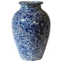 Vintage Italica Ars 1960s Italian Art Pottery Vase Mottled Blue and White Glaze