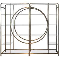 Pair Design Institute of America Milo Baughman Vintage Brass Etagere Shelves