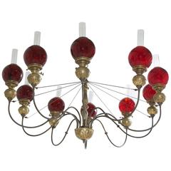 English Victorian Ten-Light Chandelier in Brass with Cranberry Glass Globes