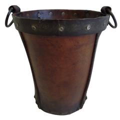 Unique French Modern Craftsman Leather Wastebasket