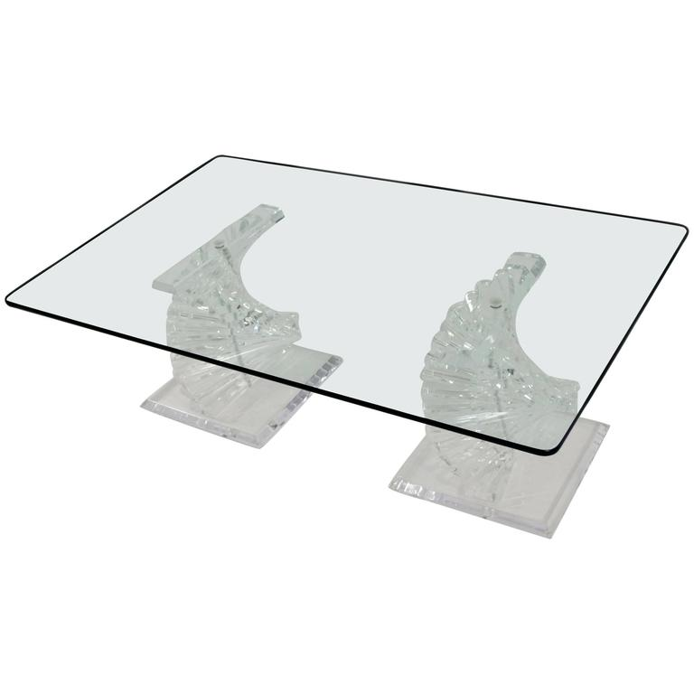 Lucite Coffee Table with Stacked Spiral Bases