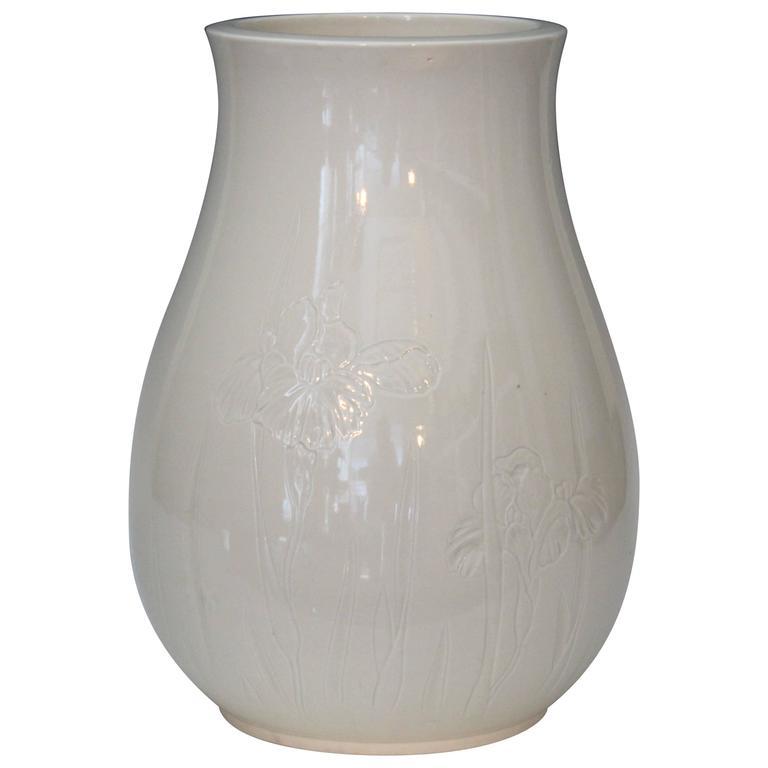 Antique Japanese Carved Studio Blanc de Chine Porcelain Vase