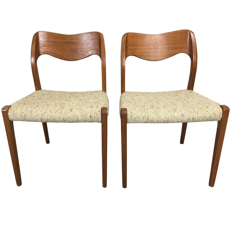 Pair of J.L. Moller Teak Dining Chairs For Sale