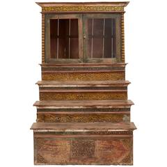 Antique Thai Early 20th Century Large Wooden Display Cabinet