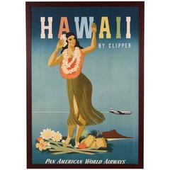 Pan Am Clipper Hawaiian Travel Poster by John Atherton, Original, 1948