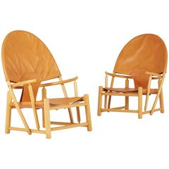 Hoop Lounge Chairs by Piero Palange & Werther Toffoloni, Rare Matching Pair