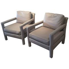 Vintage Pair of Parsons Club Grey Leather Armchairs Milo Baughman Style