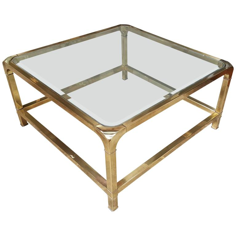 Mastercraft Square Brass And Glass Coffee Table At 1stdibs