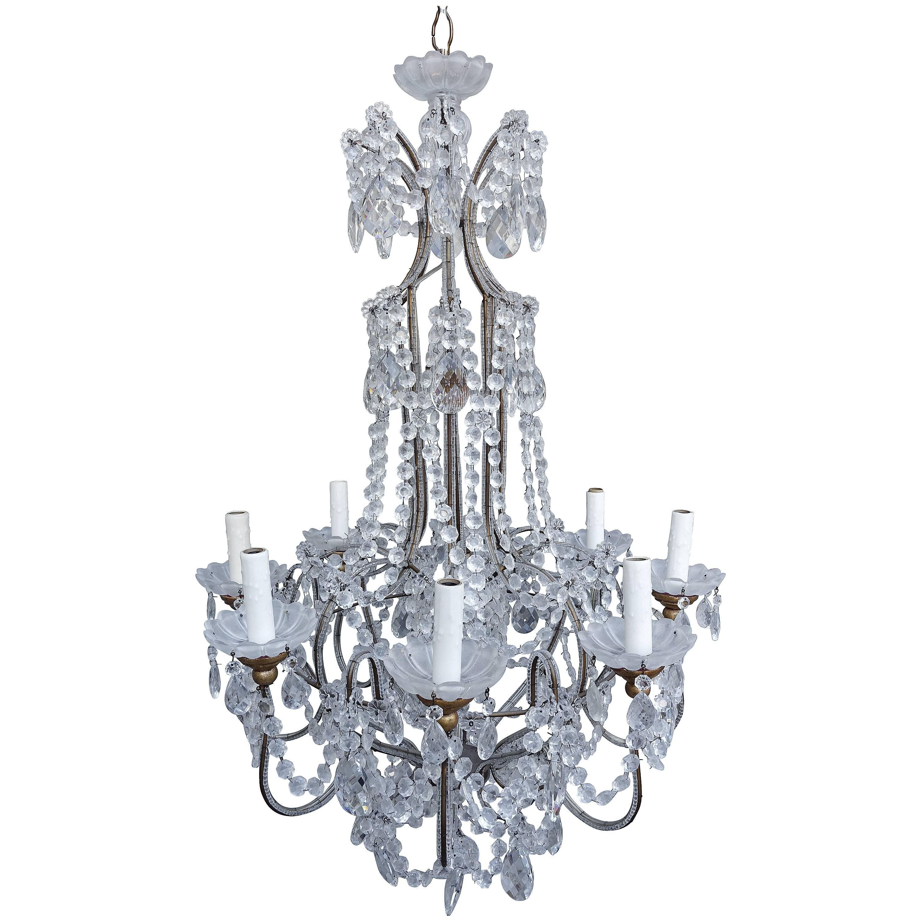Eight-Light Italian Crystal Beaded Chandelier