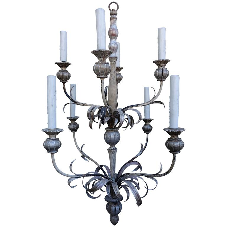 Eight-Light Silvered Two-Tier Chandelier
