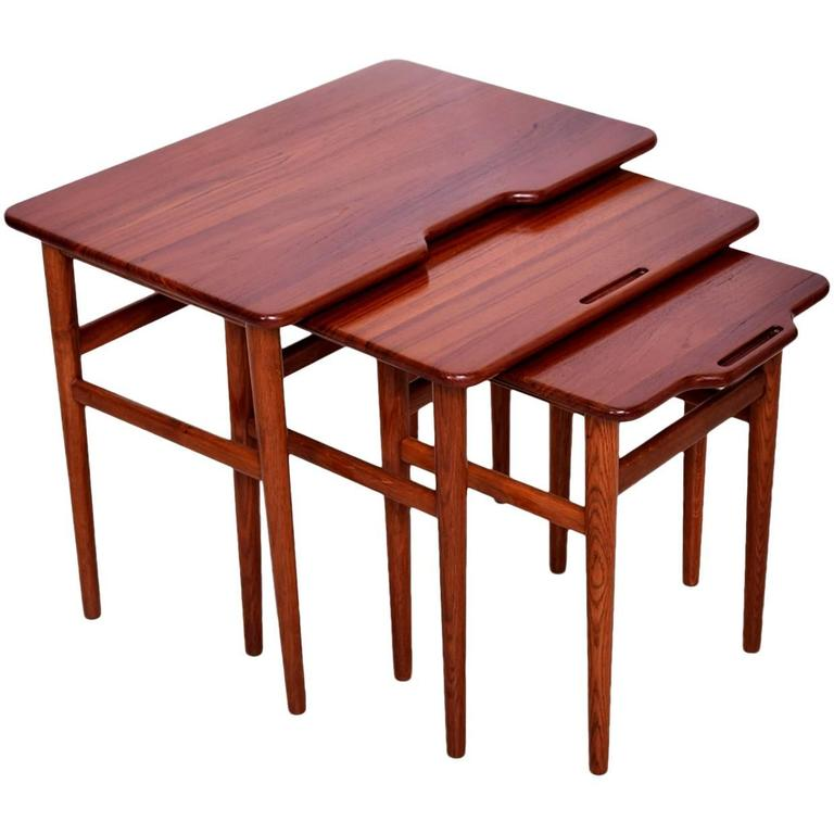 Contemporary Nesting Tables ~ Danish modern teak nesting tables set of three for sale at