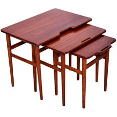 Mid Century Danish Modern Teak Nesting Tables Set of Three