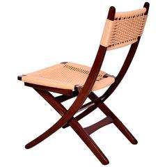 Mid-Century Danish Modern Rope Folding Chairs Wegner Style