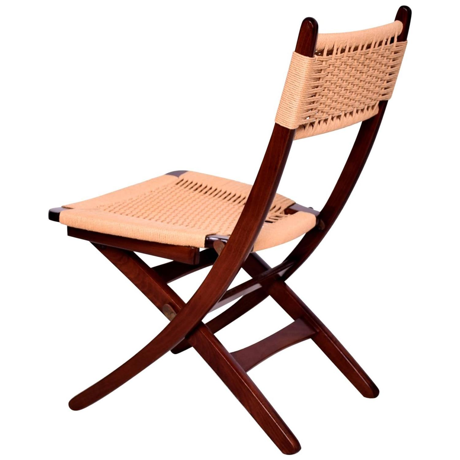 folding chairs for sale. Mid-Century Danish Modern Rope Folding Chairs Wegner Style For Sale At 1stdibs