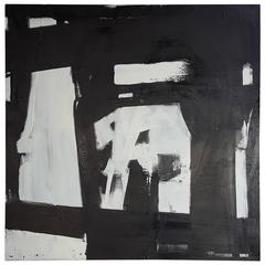 Large Black and White Abstract Painting by Guillermo Calles