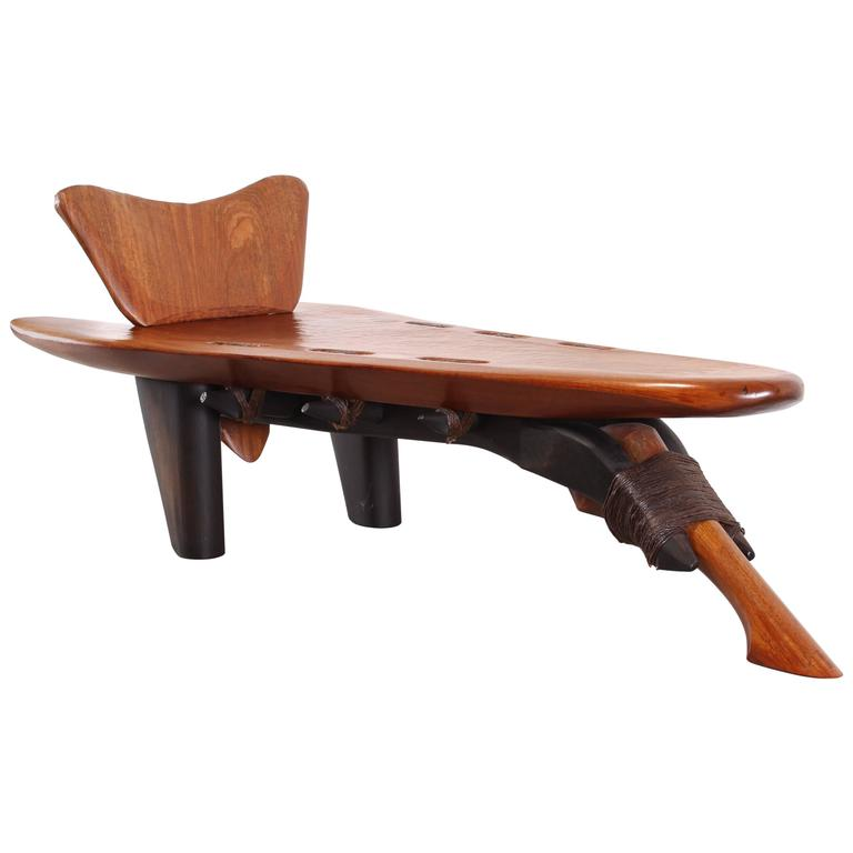Studio hand carved bubinga wood chaise lounge by keith for Carved wooden chaise