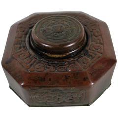 Tiffany Studios Bronze Doré Zodiac Pattern Inkwell