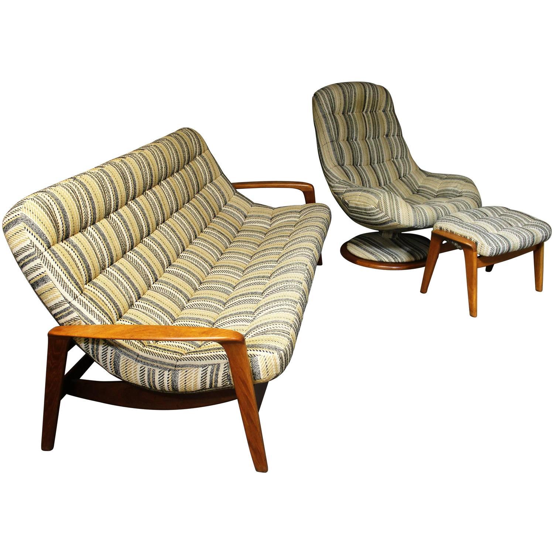 R Huber Teak Sofa Lounge Chair And Ottoman Danish