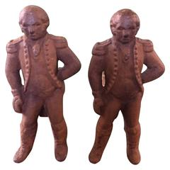 Pair of Early 19th Century Cast Iron George Washington Andirons