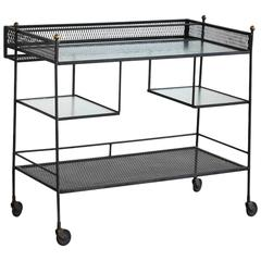 Black Iron Rolling Bar Cart by John Salterini with Glass Tops and Brass Finials