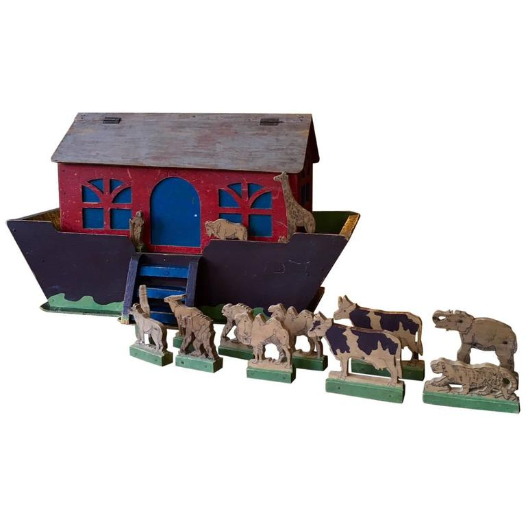 19th Century Handcrafted Folk Art Noah's Ark For Sale