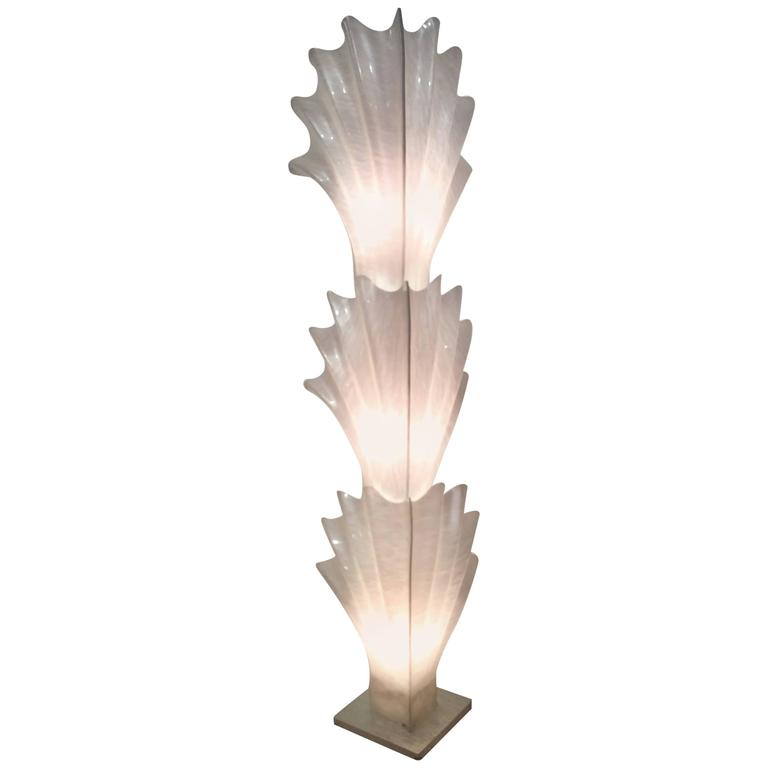 Rougier Seashell Shell Monumental Vintage Floor Lamp Feather Palm ...
