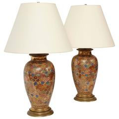 Pair of Chinese Thousand Flower Porcelain Lamps, circa 1920
