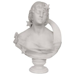 Carved Marble Bust of a Lady with Moon and Stars
