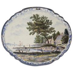 Dutch Delft Pottery Blue and White and Polychrome Landscape Plaque