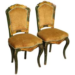 20th Century Pair of Venetian Lacquered and Gilded Chairs