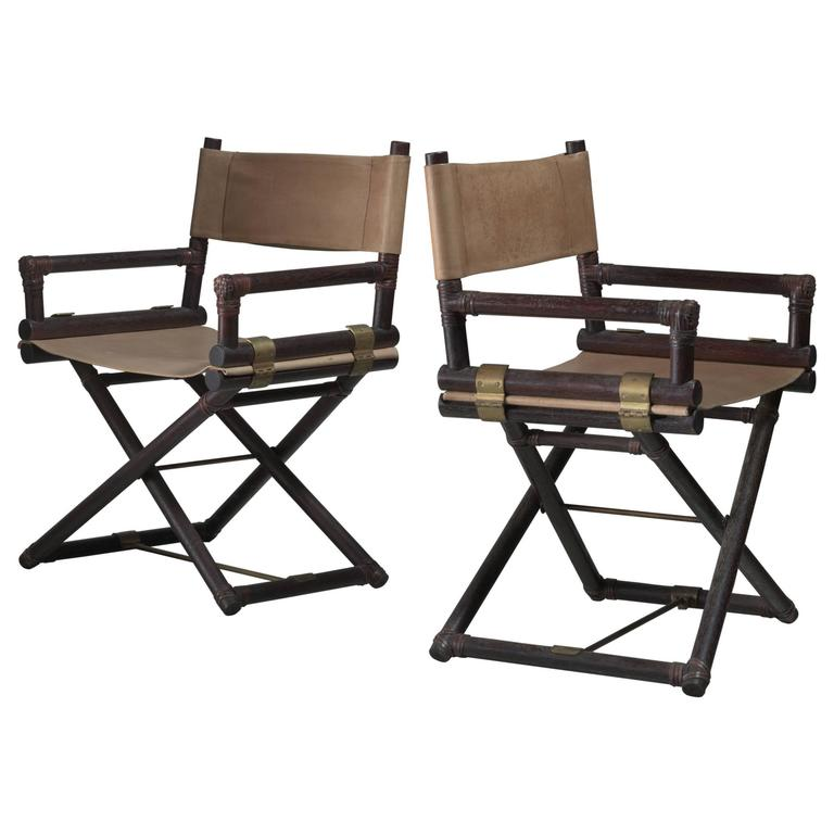 McGuire Pair Of Wood, Leather And Brass Directoru0027s Chairs, USA, 1950s