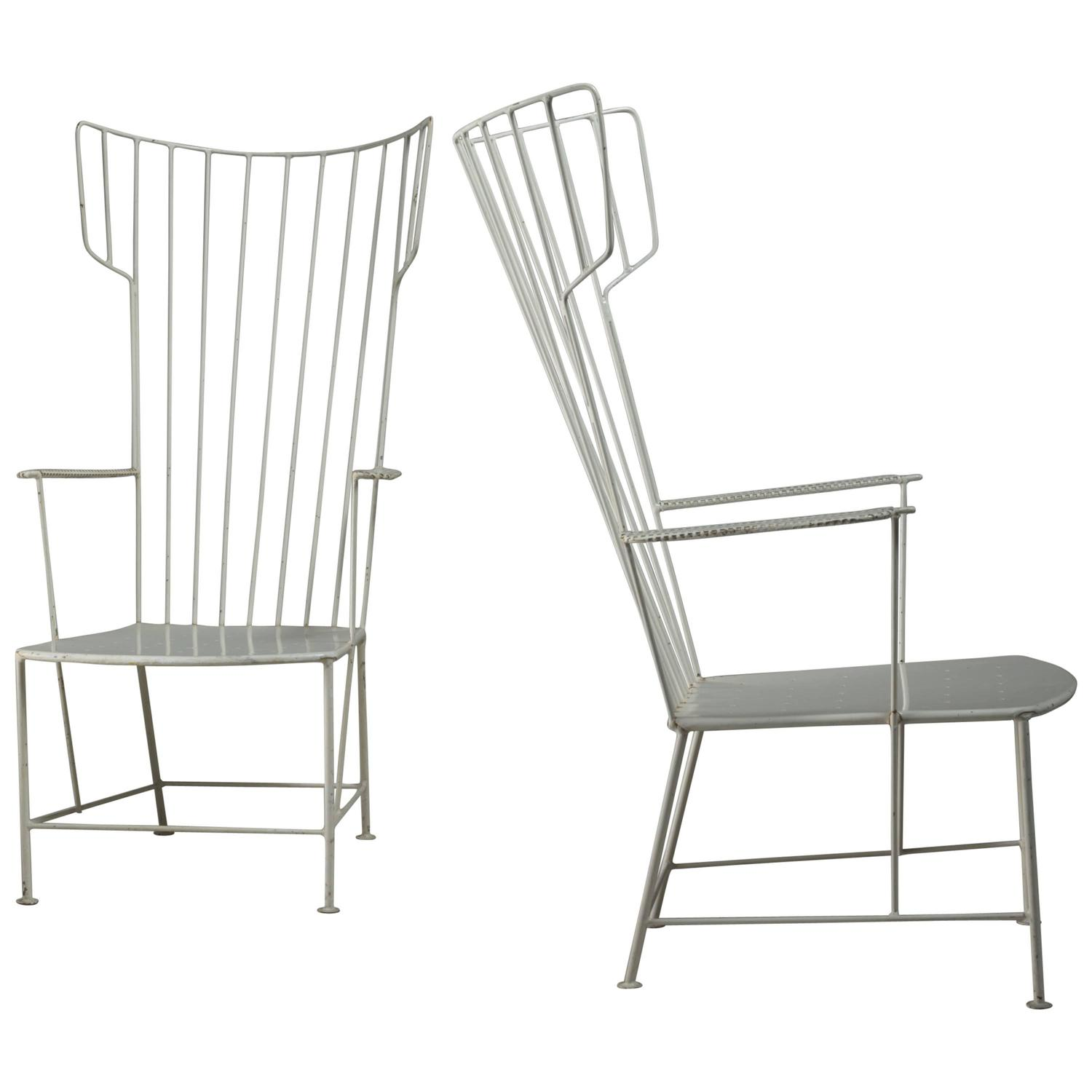 Praun And Lauterbach Pair Of White Metal Garden Chairs Austria 1950s For At 1stdibs
