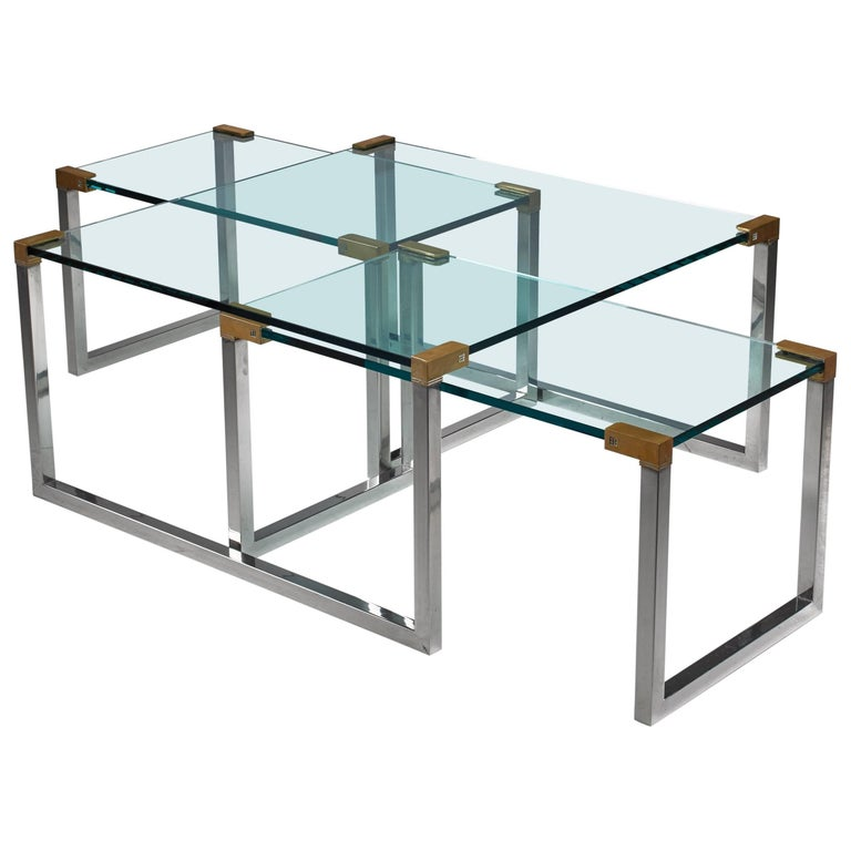 Peter Ghyczy Set of Three Modular Glass, Brass and Chrome Tables, Dutch, 1970s