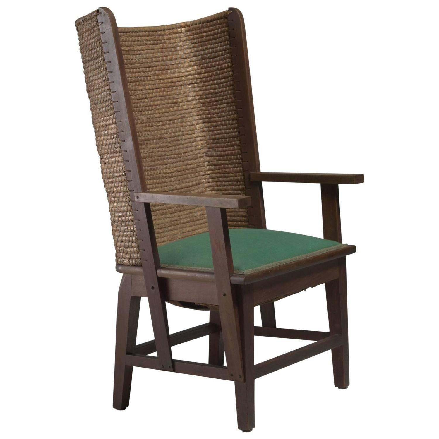 Beau Chris Wegerif Orkney Chair With Green Fabric Seating, Dutch, 1900 For Sale  At 1stdibs
