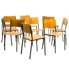 Danish Architectural Oak Stacking Chairs