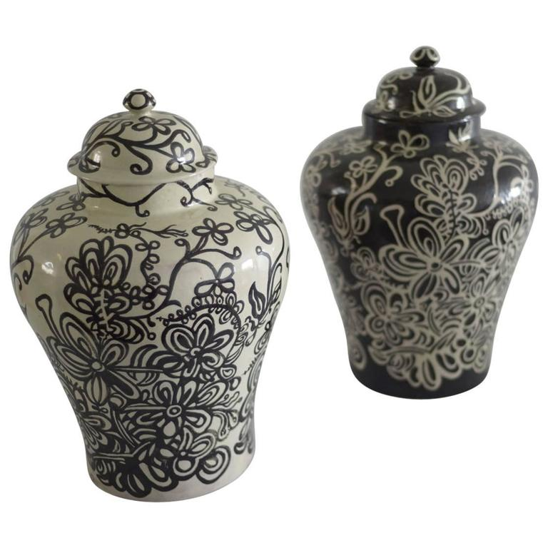 Pair Of Black And White Talavera Vases By Carlos Arias For Sale At