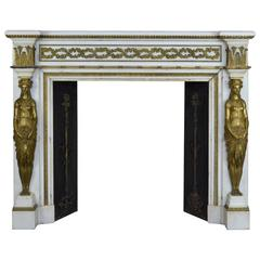 19th Century French Empire Style Mantel in Statuary and Brass