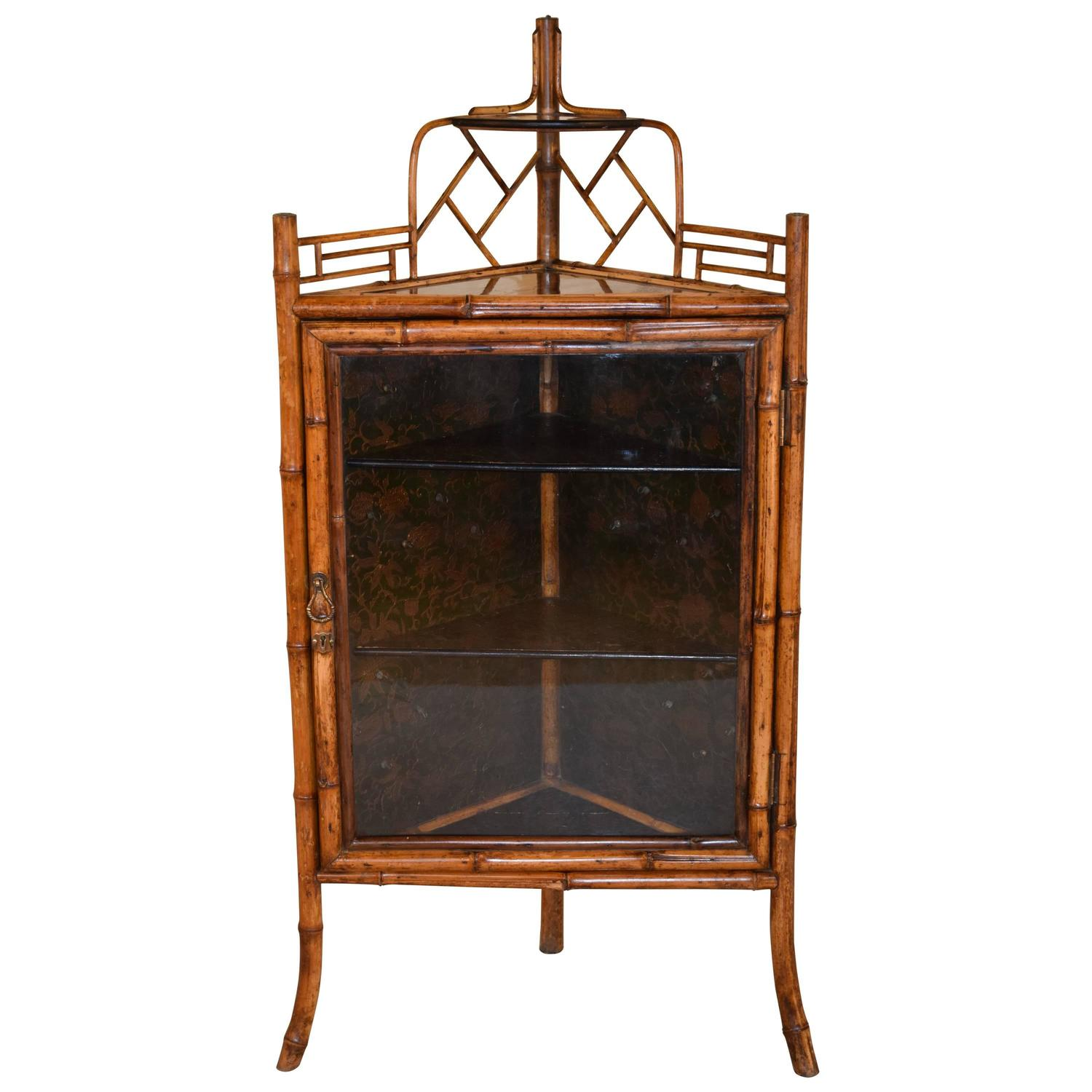 19th century french bamboo corner cabinet for sale at 1stdibs for Bamboo kitchen cabinets for sale