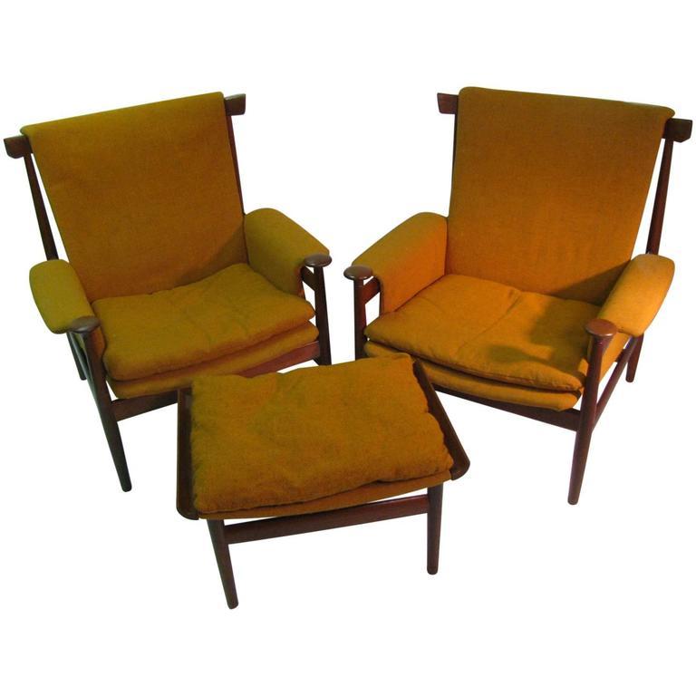 Pair of Mid Century Modern Finn Juhl Bwana Chairs and Ottoman France & Sons
