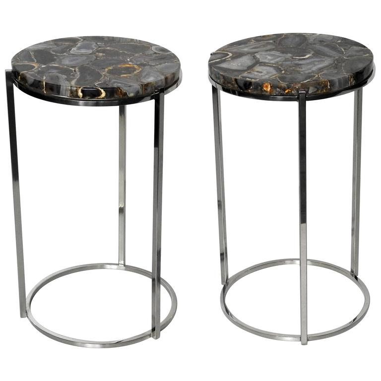 Pair Of Chrome Side Tables With Natural Agate Tops At 1stdibs