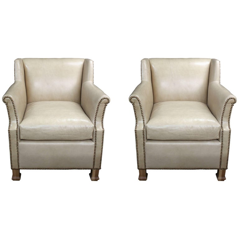 """Pair of Custom Leather Club Chairs in a Butter Soft """"cafe au lait"""" Leather For Sale"""