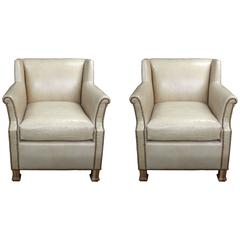 "Pair of Custom Leather Club Chairs in a Butter Soft ""cafe au lait"" Leather"