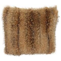 Luxurious Down Filled Genuine Tanuki Fur Throw Pillows