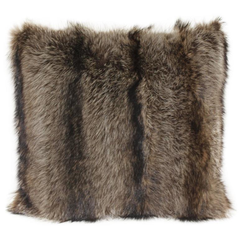 Luxurious Down Filled Genuine Raccoon Throw Pillows