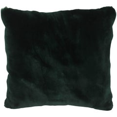 Luxurious Down Filled Green Genuine Sheared Beaver Fur Throw Pillows