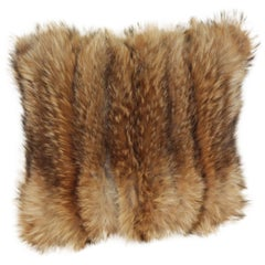 Luxurious Down Filled Vintage Tanuki Fur Throw Pillows