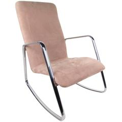 Mid-Century Modern Rocking Chair in the Style of Milo Baughman