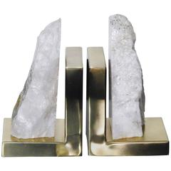 Pair of Brass and Crystalline Stone Bookends